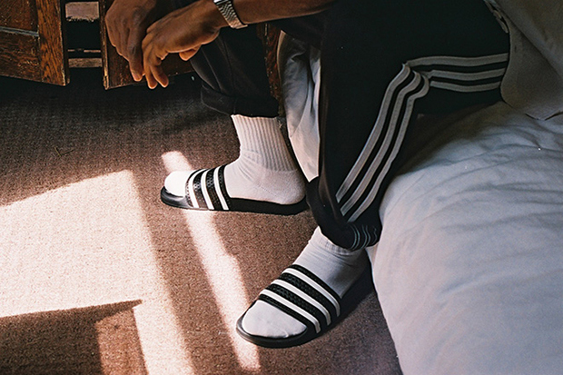 d6fa7fce9cf1cf adidas Originals  iconic adilette slide is back with a new editorial by  Michael Mayren for adidas Originals. Would you wear socks with your sandals