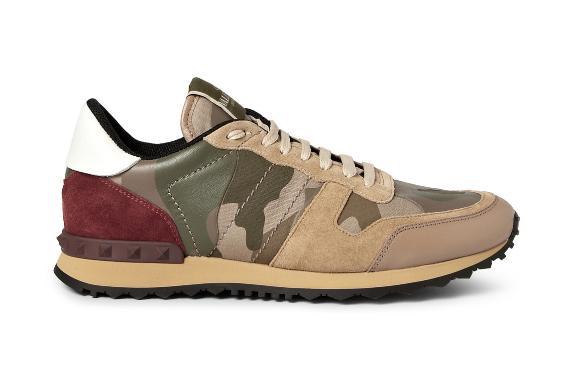 25ae202da3e Valentino Panelled Leather and Suede Camouflage Sneakers    FOOYOH  ENTERTAINMENT