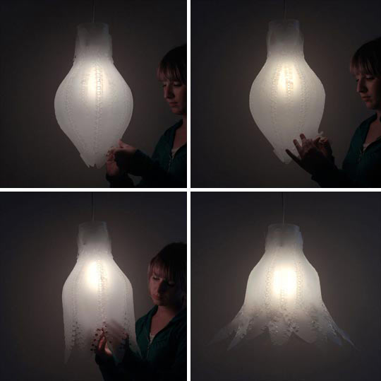 Zipp light shades turn lamp into flower fooyoh entertainment the zipp light shade by designers arash and kelly have a simple polypropylene covering that you can adjust depending on how you feel mozeypictures Image collections