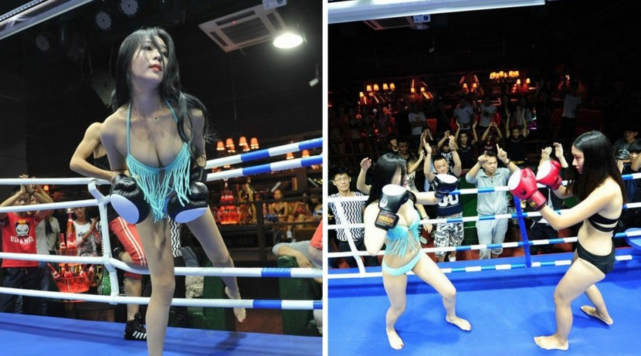 Chinese Boxing Bar Has Girls In Bikinis In Their Own