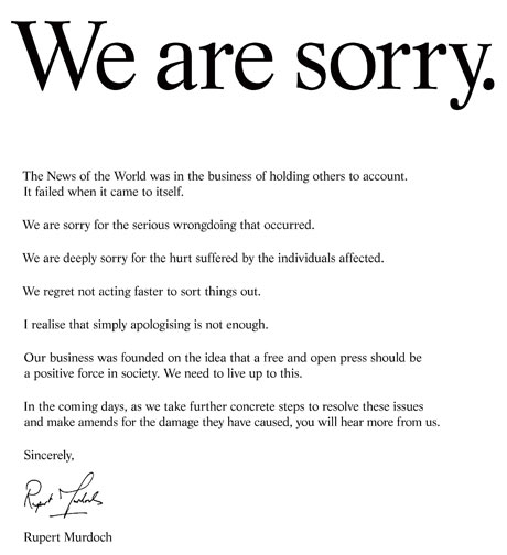 Rupert Murdoch Distributes FullPage Apology Using Ad Campaign