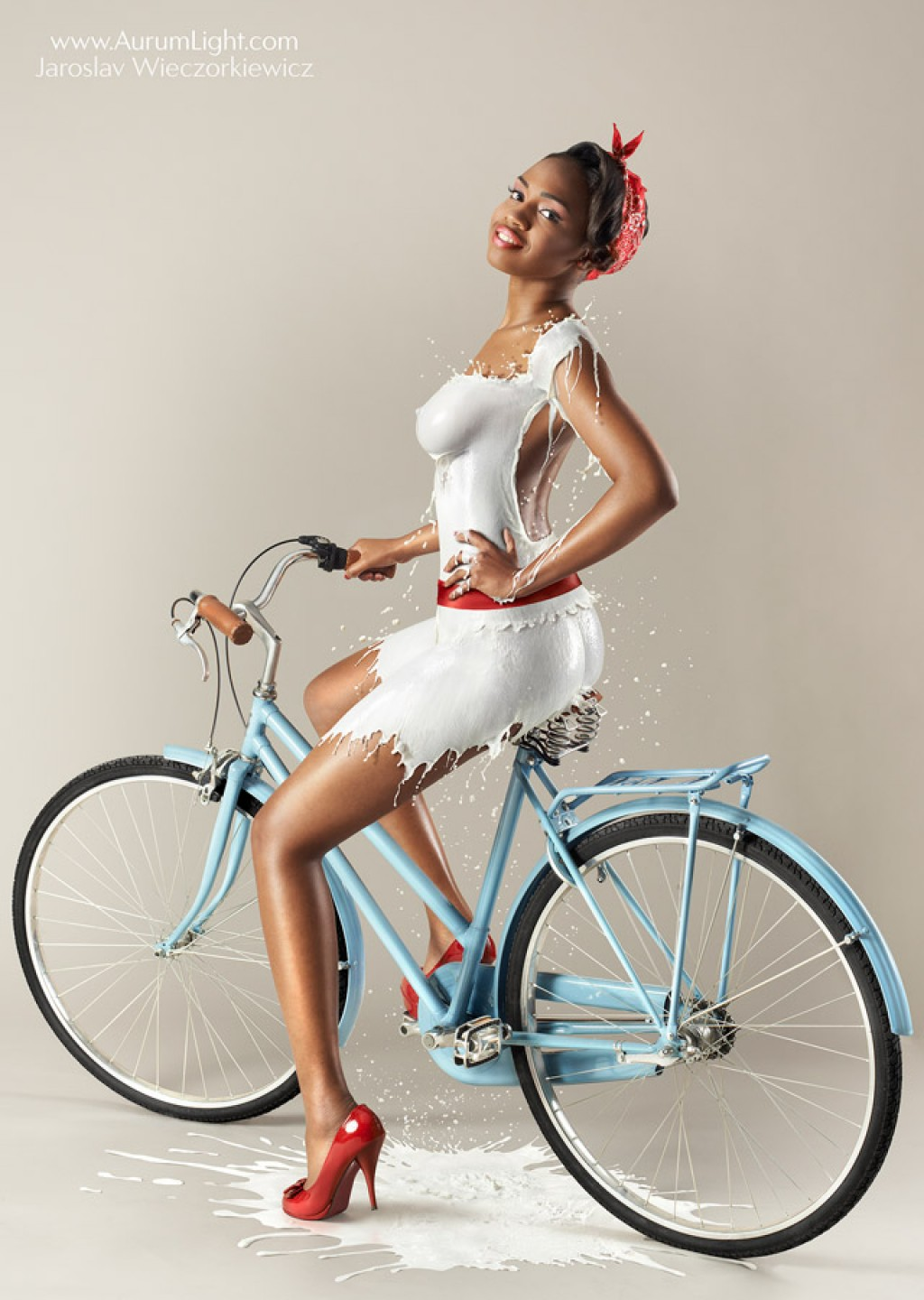Retro Styled Pin-up Shots of Models Wearing Milk