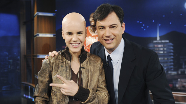 Justin bieber shaved head jimmy kimmel