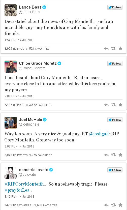 Celebrity tweets about cory monteith