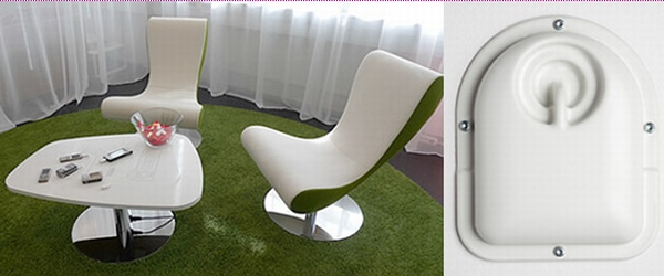 Powerkiss furniture charges your phone wirelessly - Phone charging furniture the future in your home ...