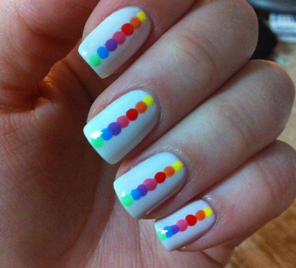 This Cute Design By Marcela F Of Beautylish Offers Her Own Unique Take On Rainbow Nails To Achieve Start Off With A White Base Before Adding The