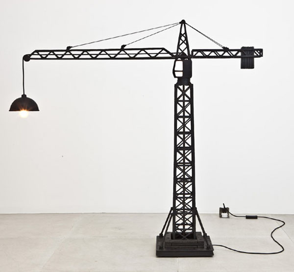 Here are two floor-standing bronze lamps which seem to have been inspired  by a fascination for industrial cranes. The first design resembles that of  a ...