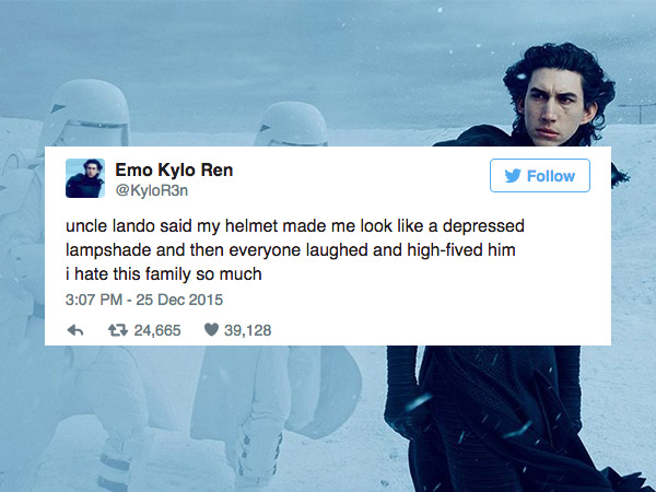 kylo2 emo kylo ren is the twitter account he doesn't want you to see